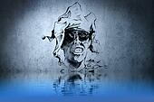 Witch or sorcerer tattoo on blue wall with water reflections