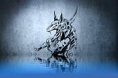 Warrior tattoo on blue wall with water reflections