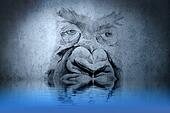 Gorilla tattoo on blue wall with water reflections