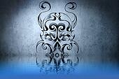 Warrior Skull tattoo on blue wall with water reflections