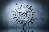 Tattoo cute sun with water reflection. Illustration design over