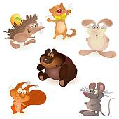 Set of six funny animals - mouse, r