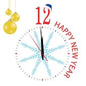 clock with blue snowflake for new year