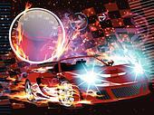 Speeding Race Car