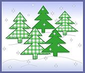 Green Gingham Christmas Trees