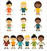 Vector illustration - cute smiling multicultural children.