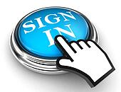 sign in blue button and hand