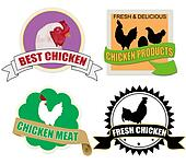 Stickers set with chicken meat
