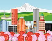 Portland Skyline Illustration