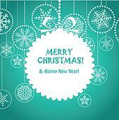 Green Christmas greeting card