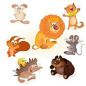 Set of seven funny animals - mouse,