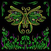 Bright vector butterfly with futuristic flower decor