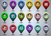 Symbolic life form of  colorful GPS icons