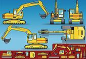 yellow excavator  orthogonal