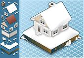 isometric Snow Capped House
