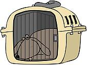 Dog In Pet Carrier