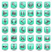 blue web icons set