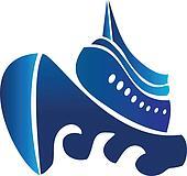 Sail ship cruise boat vector logo
