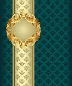 background with gold(en) band by label with ornament