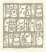 Mayan Glyphs Woodblock