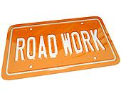 Road Work Orange Automobile License Plate for Car