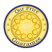 Price Guarantee Seal, Gold and Blue
