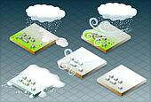 isometric natural disaster snow
