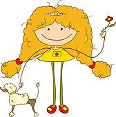 Girl and a poodle dog