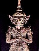 Silver Thai Demon on Black Backing