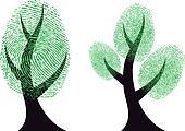 green fingerprint tree, vector