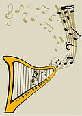 Harp and notes