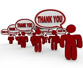 Many People Customers Say Thank You in Speech Bubbles