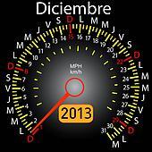 2013 year calendar speedometer car in Spanish. December