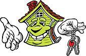 Happy Friendly House Holding Keys Vector Cartoon
