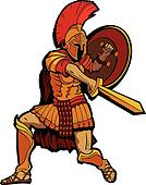 Spartan Mascot Standing with Sword and Shield Vector Illustratio