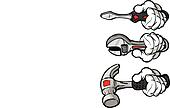 Cartoon Hands Holding Wrench Hammer and Screw Driver Vector Illu