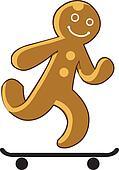 Gingerbread Kid Playing Skate board