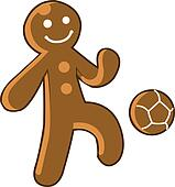 Gingerbread Kid Playing Soccer