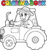 Coloring book farmer on tractor
