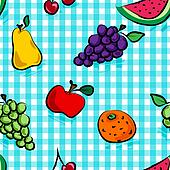 Seamless grungy fruits over light blue gingham pattern