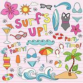 Summer Hawaiian Vacation Doodles