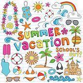 Hawaiian Summer Vacation Doodles