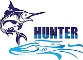 Hunter fish logo vector