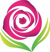Pink rose vector logo