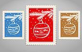 Vintage post stamp. Merry Christmas