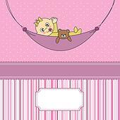Baby girl sleeping with teddy bear
