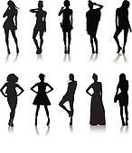 set of various beautiful model girls in dress.Lady girls