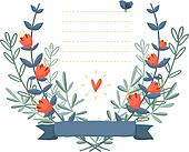 Colorful floral background frame with a bird