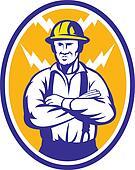 Electrician Construction Worker Lightning Bolt