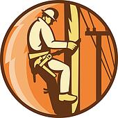 power lineman worker electrician climbing
